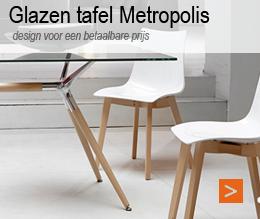 glazen tafel bureau metropolis