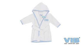 Badjas VIB' Wit+Licht Blauw - VIB-BATW02