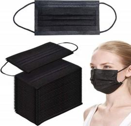 Medische mondkapjes zwart 50 stuks