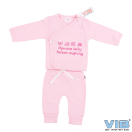 Twee-Delige Setje Roze 'Remove Baby Before Washing' - VIB-PJTP03