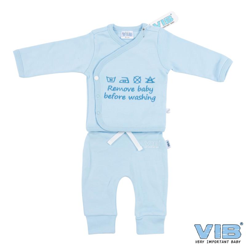 Twee-Delige Setje - Blauw 'Remove Baby Before Washing'  - VIB-PJTLB03