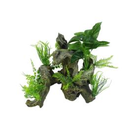 Aquarium decoratie Boomwortel met kunstplanten Aquascape 6