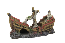 Decoratie schip Sinkin Ship 22cm  aquarium decoratie