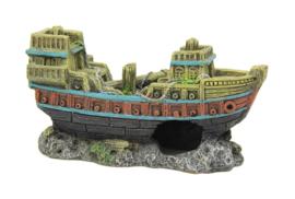 Decoratie schip Sinkin Boat 14.5cm  aquarium decoratie