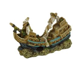 Decoratie schip Sinkin Ship 28cm  aquarium decoratie
