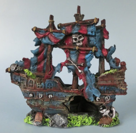Decoratie schip Piratenschip 23cm aquarium decoratie