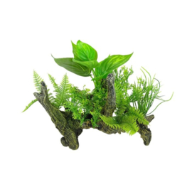 Aquarium decoratie Boomwortel met kunstplanten Aquascape 2