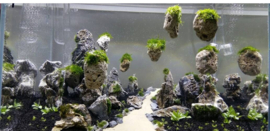 Suspended  (drijvende aquarium stenen) 3-12cm in zakje