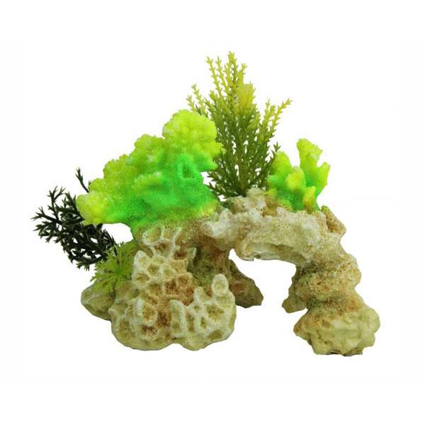 Aquarium Decoratie Coral Rock Green 15cm