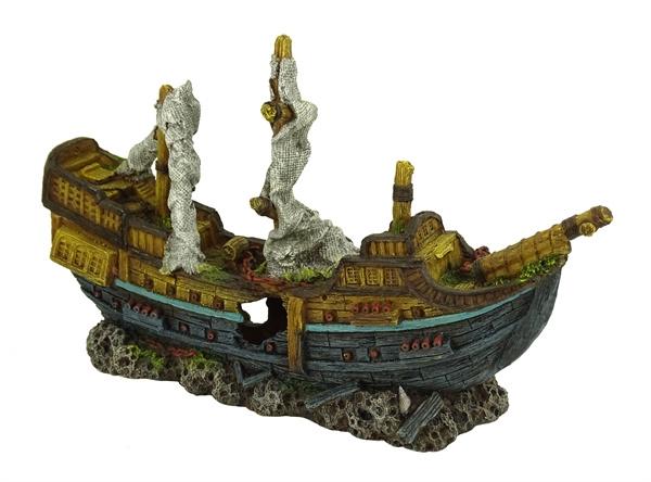 Decoratie schip Sinkin Galeon 42cm  aquarium decoratie