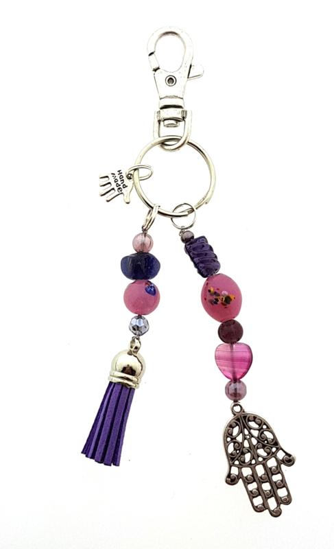 sleutelhanger   tashanger lila pink