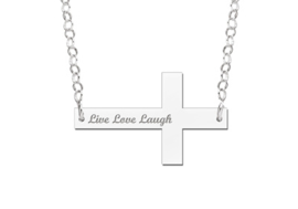 Zilveren Bar naamketting Kruisje
