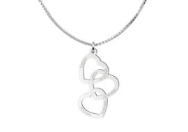 Zilveren hanger drie harten