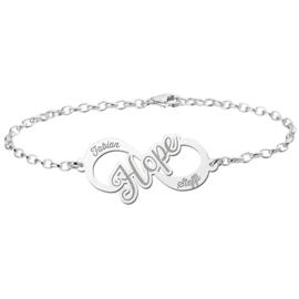 Zilveren infinity armband hope
