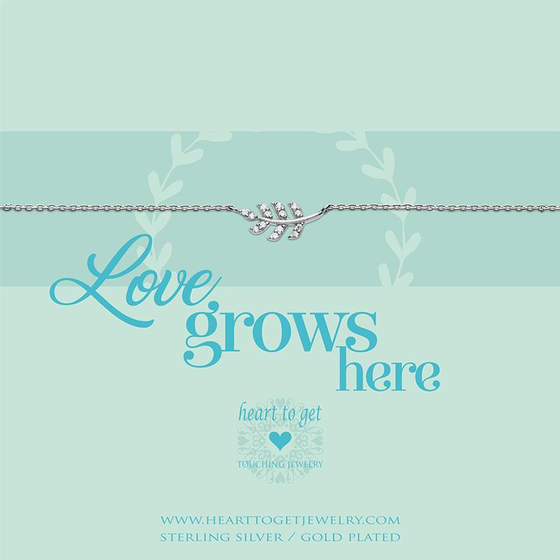 zilveren armband ''Love grows here''