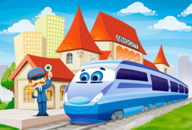 Op het treinstation Castorland B-040216