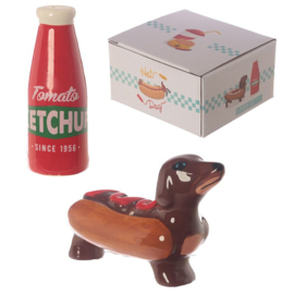 Peper en zoutstel Hotdog Ketchup