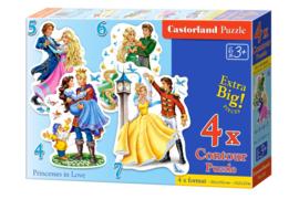 4 Delige puzzel set Verliefde Prinsessen Castorland B-04461-2