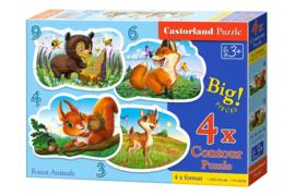 4 Delige puzzel set Dieren in het bos Castorland B-005079