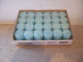 Cilinderkaarsen tray 24 stuks Aqua (8201)