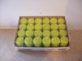 Cilinderkaarsen tray 24 stuks Licht Groen (8204)