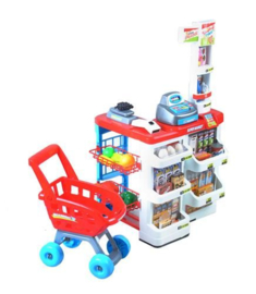 Supermarkt met winkelwagen