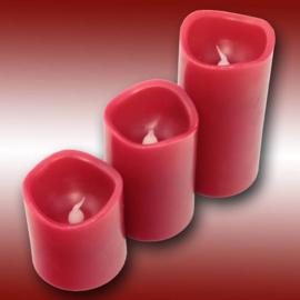 Wax led kaarsen set 3 stuks Rood