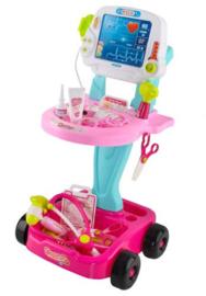 Doktersset met trolley roze