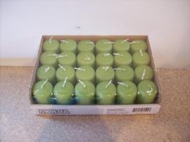 Cilinderkaarsen tray 24 stuks Groen (8203)