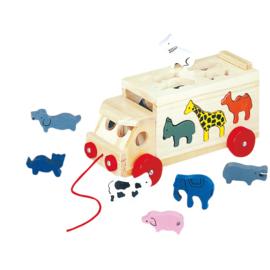 Dieren vrachtauto vormen puzzel Bino 84068
