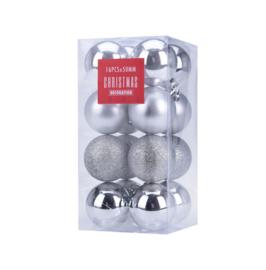 Kerstballen set 16 stuks Ø 5cm Zilver