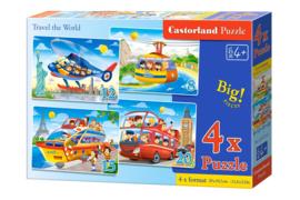 4 Delige puzzel set Reis de wereld rond Castorland B-041015-2