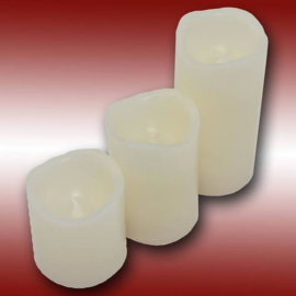 Wax led kaarsen set 3 stuks wit