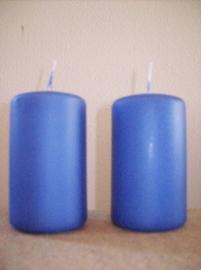 Cilinderkaars Blauw/ Lavendel set 2stuks