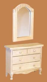 02997 Commode met spiegel, blankhout. (56)