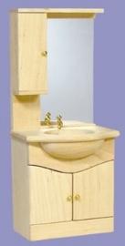 01162 Badkamerkast met wasbak en spiegel, blankhout. (51)