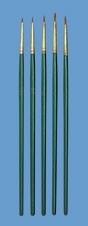 5 golden nylon penselen, rond, EM8506