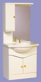 00772 Badkamerkast met wasbak en spiegel, wit. (20)  (EM9209/W)