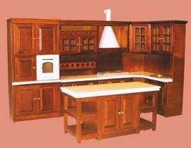00206 Keukenset 4-delig, noten. (16)