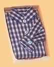 00579 Overhemd blauw geruit. (AT) (EM6110)