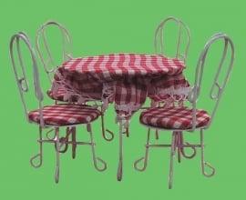 00565 Terrasmeubel set, metaal, tafel met 4 stoelen. (38)