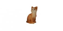 01771 Rechtop zittende bruine kat/poes. (AL)
