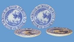 00314 Porseleinen bord, blauw, per stuk. (AK)