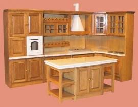 00205 Keukenset 4-delig, eiken. (32)