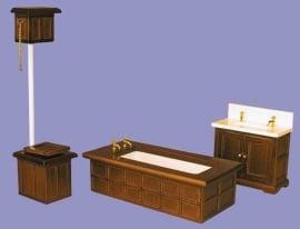 01381 Victoriaanse badkamer 3-delig, noten. (58)