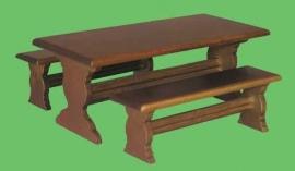 01608 Picnicktafel met twee banken, noten. (54)