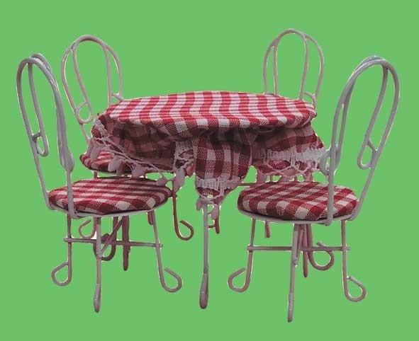 00565 Terrasmeubel set, metaal, tafel met 4 stoelen. (19)