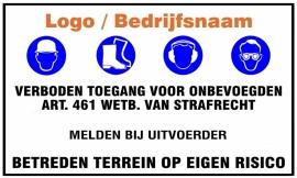 "Artikelnummer TB7–V7.E7.BN ""Verboden Toegang Voor Onbevoegde"" met logo per st."