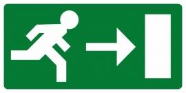Artikelnummer RE2–V1.01 sticker Vluchtweg rechts (afm. 30x15cm) per st. vanaf 10 st.