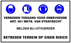 "Artikelnummer TB7–V7.E7 ""Verboden Toegang Voor Onbevoegde"""